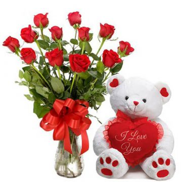 15 Roses with Teddy