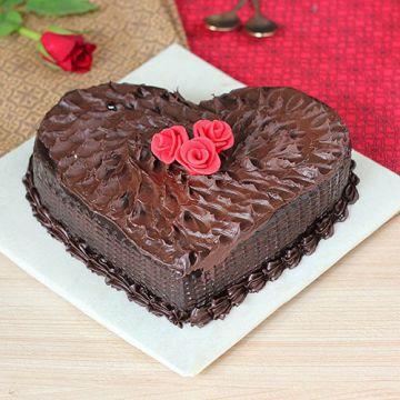 Dark Chocolate Heart Shape Cake
