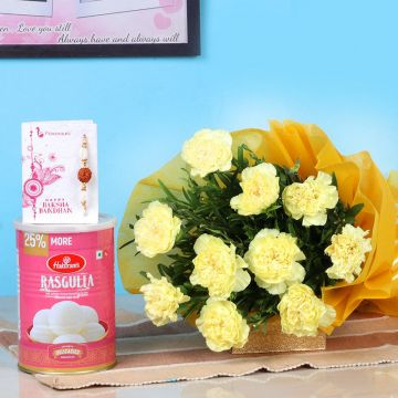 Carnations ,Sweets and Rakhi