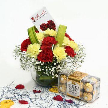 Carnations with Ferrero