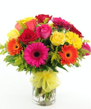 Cylindrical Roses and Gerbera