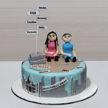 The Traveller Couple Cake