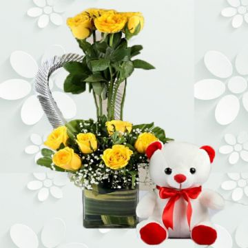 Yellow Roses Crown with Teddy