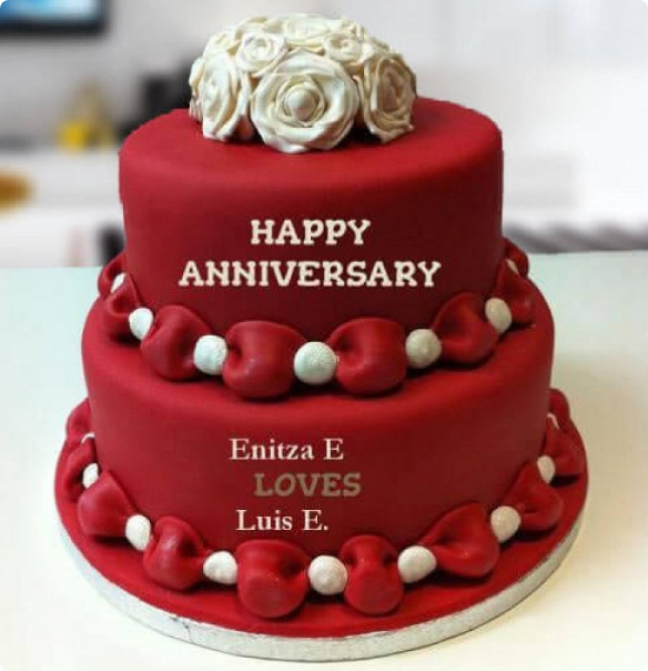 2 Tier Red Love Cake