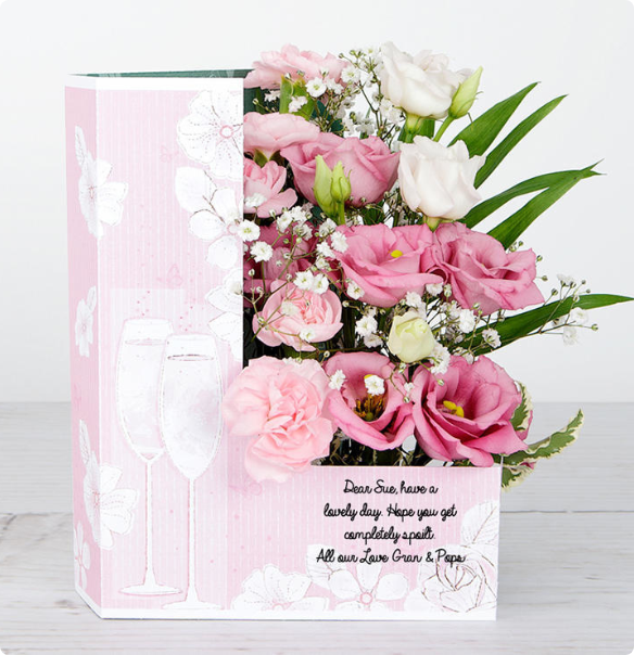 Flowers in a card with message